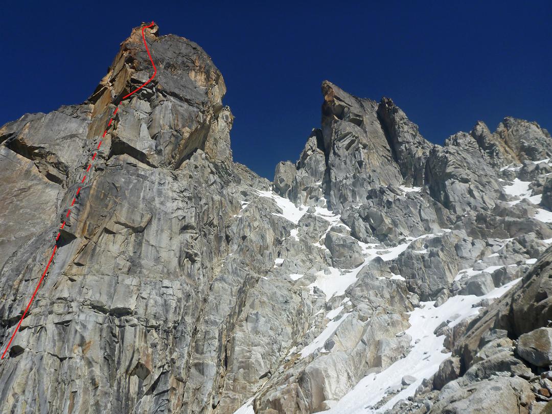 Fu-Man-Chu on the tallest granite tower of the north ridge of Jati Khollu.