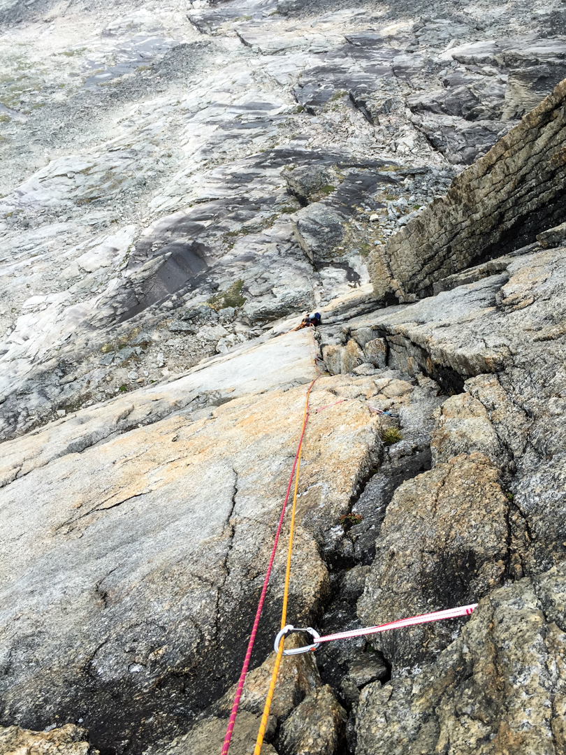 Stephanie Safdi during the first ascent of Misty Maiden on the southwest face of West Maiden.