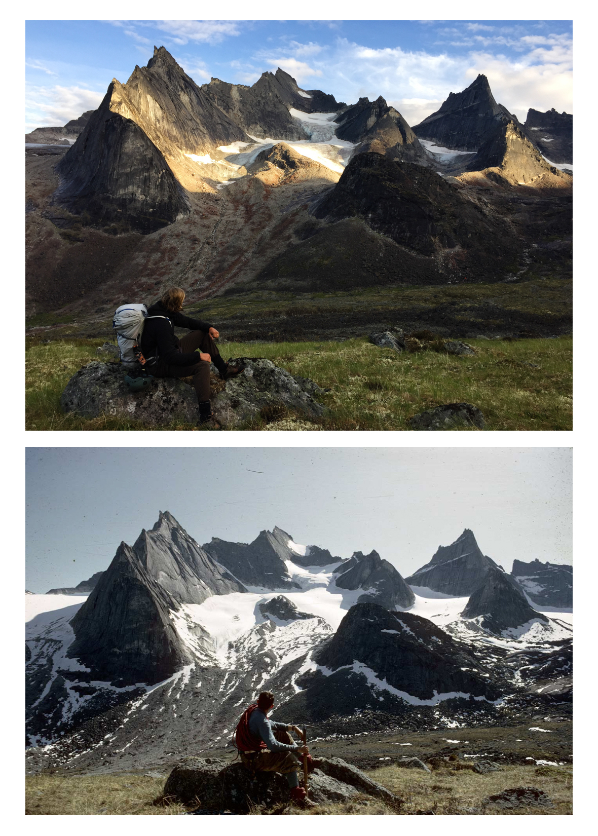 The Arrigetch Peaks have seen significant glacier recession and rockfall over the last 50 years. Details from photographs by Robley Williams Jr. (1964) and Stephanie Safdi (2015).