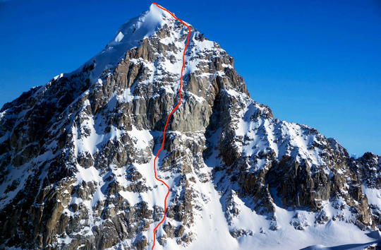 The southwest face of the Obelisk (Peak 9,304'), showing the route Emotional Atrophy (1,000m, WI5 M6 A0).