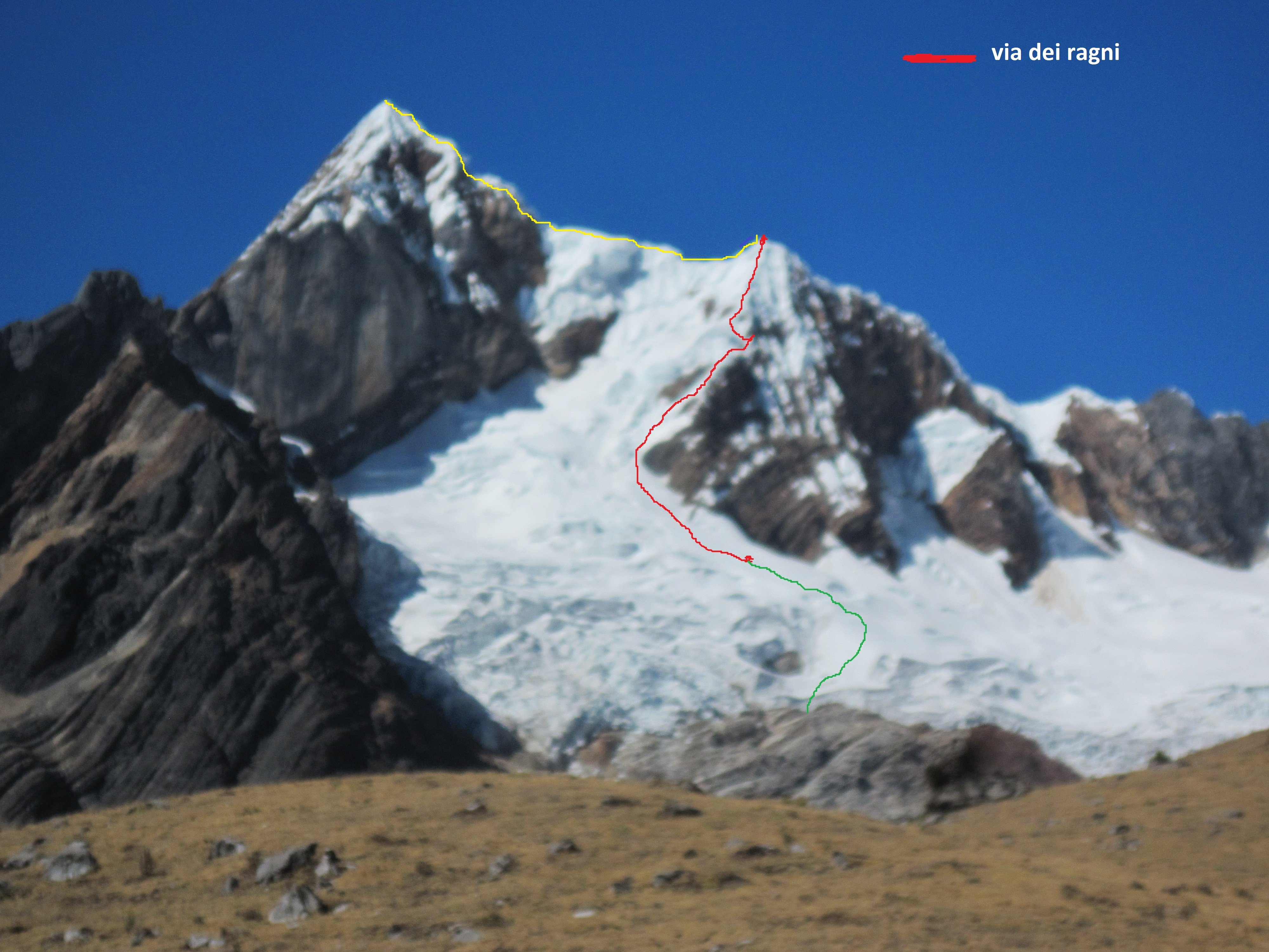Via Del Ragni (400m, D+ 90°) on the northeast face of Jirishanca Chico (red line). The yellow line indicates how one would continue up the west ridge, however the team did not reach the summit.