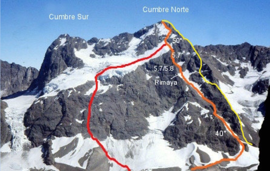El Morado: Cerro Morado, showing the main summit (4,647m) on the right and south summit (ca 4,480m) on the left. The routes shown here are: Foerster-Hein-Sattler, 1941 (red line); Fainberg-Farias, 2007 (orange line); Binfa-Miranda, 2015 (yellow line). Other routes and variants are not shown in this photo.