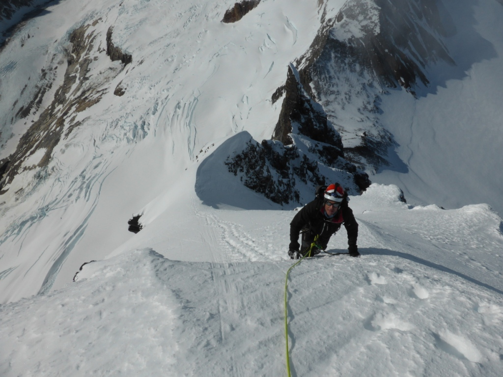 Henry Bizot on the south face of Cerro Dumbo.