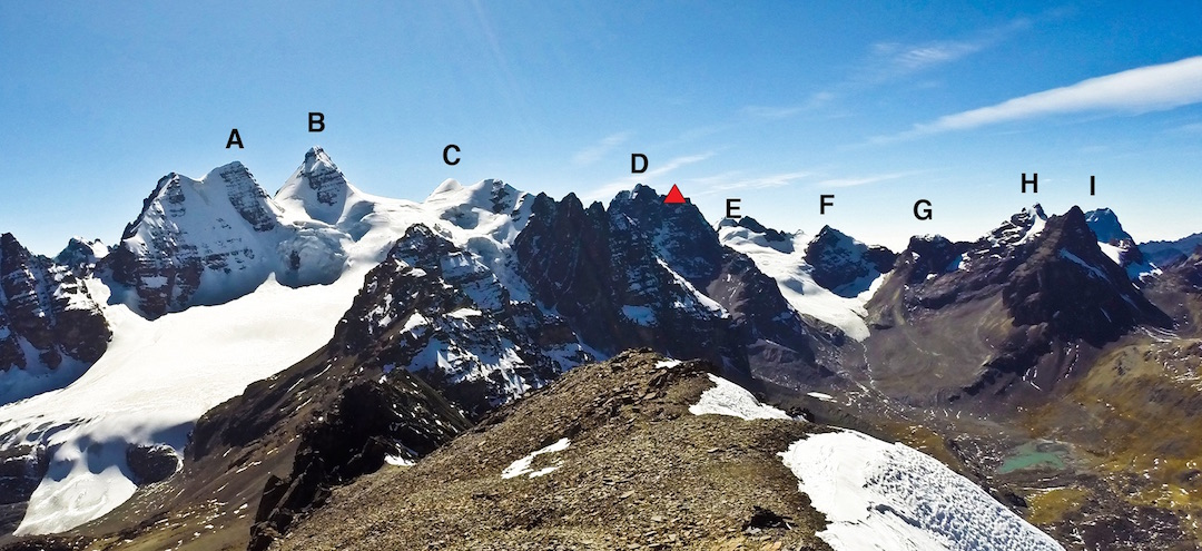 Looking northeast at the Condoriri Massif from Pico Austria. (A) Ala Izquierda (5,532m). (B) Cabeza del Condor (5,648m). (C) Ala Derecha (5,482m). (D) Huallomen (Wyoming, 5,463m, with red dot marking the bivouac site. (E) Pico Tarija (5,320m, the two pointed summits behind this are Pequeña Alpamayo (left) and Innominado). (F) Piramide Blanca (5,230m). (G) Ilusioncita (5,150m). (H) Ilusion (5,330m). (I) Aguja Negra (5,290m). In July the Condori brothers traversed all these peaks, from right to left, in a 44-hour round trip from base camp.