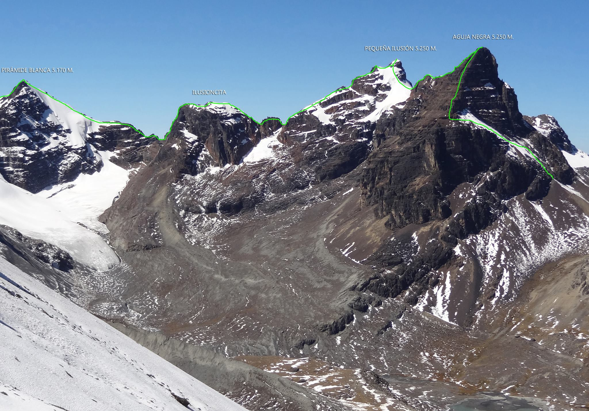 Start of the traverse, from Aguja Negra to Pirámide Blanca.