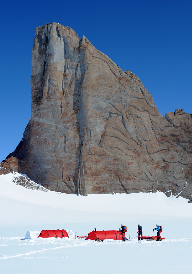 Camp below the east face (the Snow Petrel Wall) of Rakekniven, first climbed in January 1997 by an American team (600m, VI 5.10 A3+).