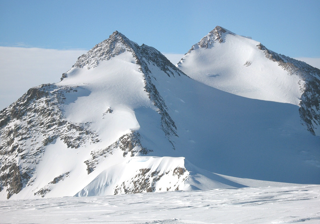 Hall Peak from the south. The right-hand peak is the summit. The first ascensionists traversed up to the right skyline, the southeast ridge, and followed this to the top.