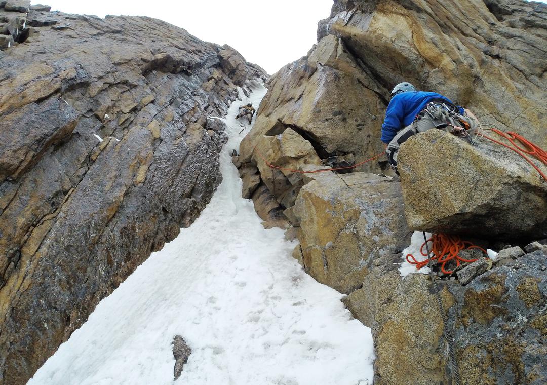 Steep ice runnel on the north ridge of Sauk Dzhaylyau West I.