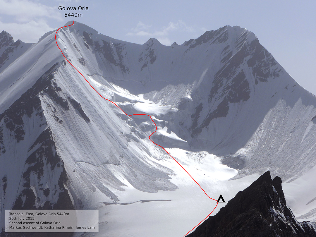 Route up the north flank and east spur of Golova Orla (5,440m) to make the second ascent of the mountain. This route was also descended during the Zaalayskiy traverse.