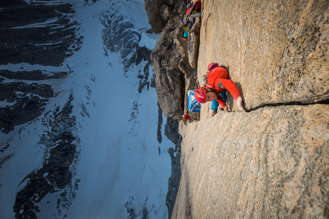 Leo Houlding starts the first pitch (E5 6b) above the Arctic Hotel, 600m up Mirror Wall.