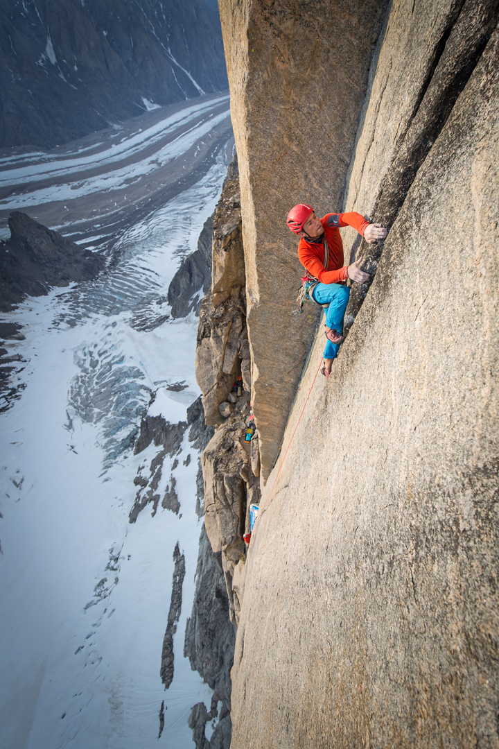 Leo Houlding leading pitch 13 (E5 6b), 600m above the snow, a beautiful pitch that was initially rappelled to reach the Arctic Hotel bivy site, 30m to the left of the route.