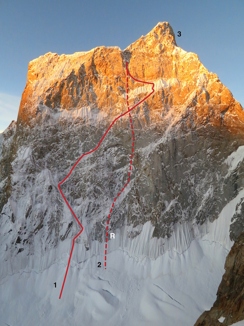 The north face of Ogre II. (1) The Adamson- Dempster attempt. (2) The descent route, with (R) marking the site of the anchor failure. (3) Approximate high point of the 2015 Costa-Mease attempt on the northwest ridge (Korean Route, 1993).