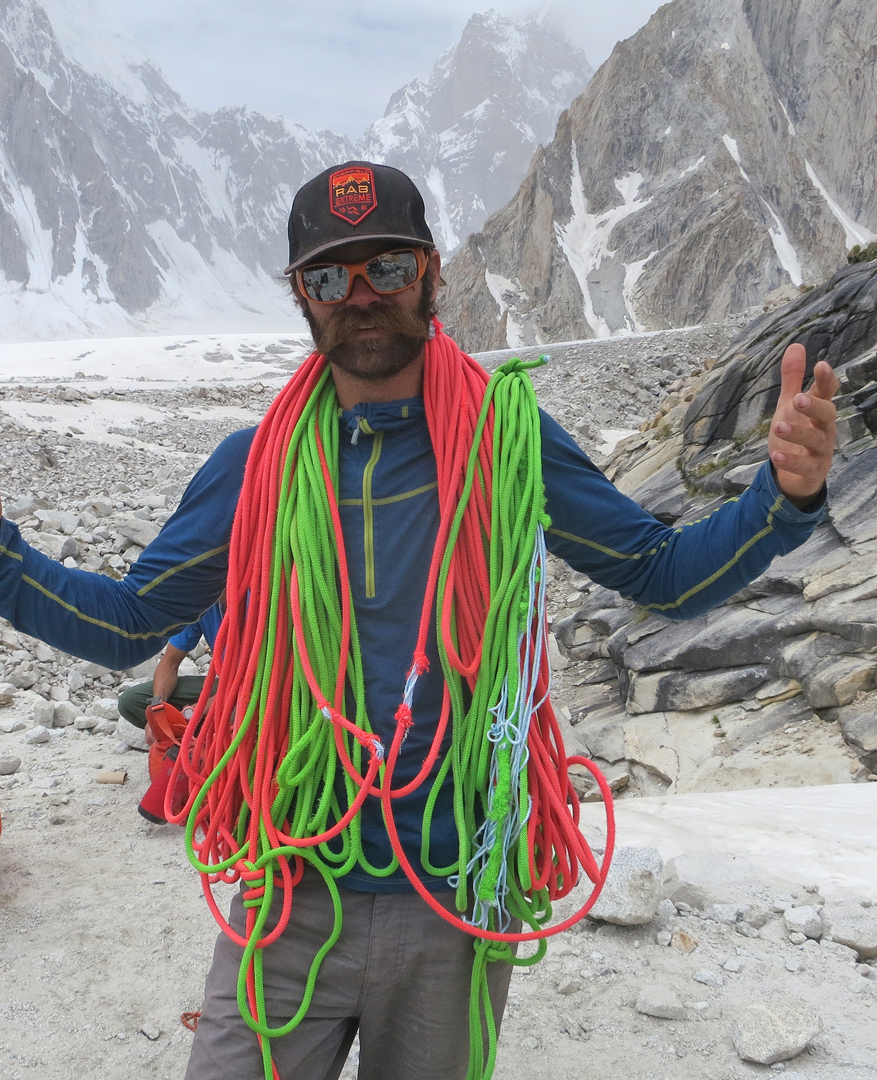 Scott Adamson and the remains of the ropes, glad to be back at base camp.