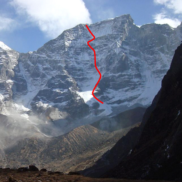 The northwest face of Peak 6,071m in drier conditions.