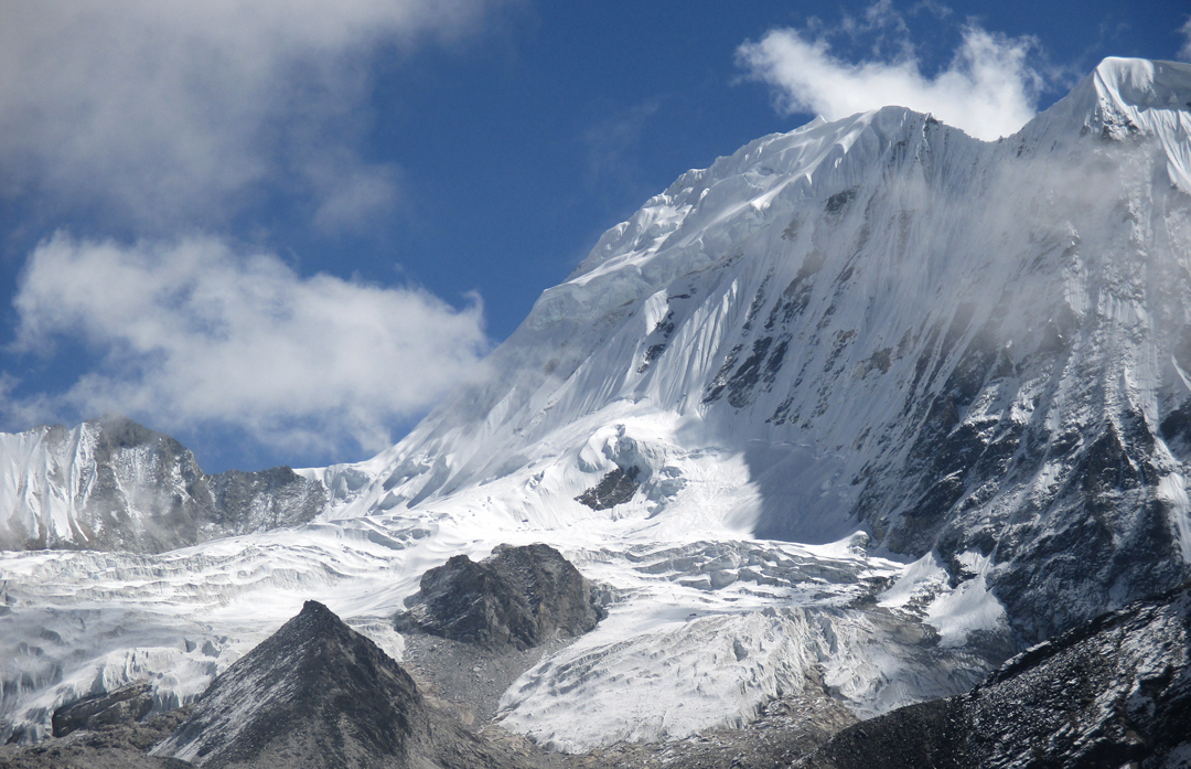 The north side of Peak 6,420m and the small rocky peak of 5,985m to its left.