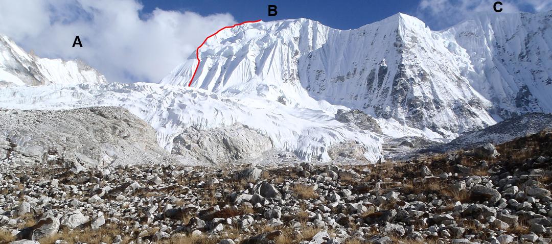 (A) Peak 5,985m. (B) Peak 6,420m with route of 2015 ascent. (C) Peak 6,300m.