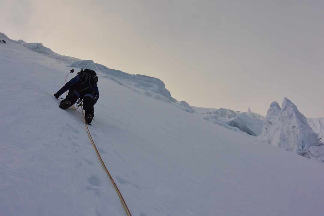 On the steep upper west face of Cayangate IV (6,120m GPS).