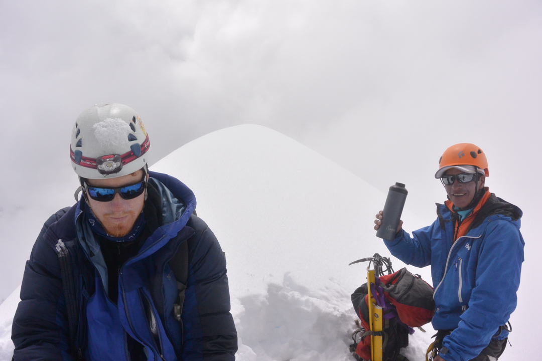 Caleb Johnson and Luis Crispin on the summit of Cayangate IV (6,120m GPS).