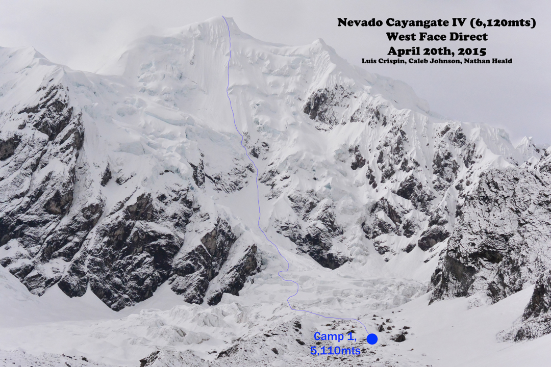 The west face of Cayangate IV, showing the line of ascent (900m, D+ WI3).