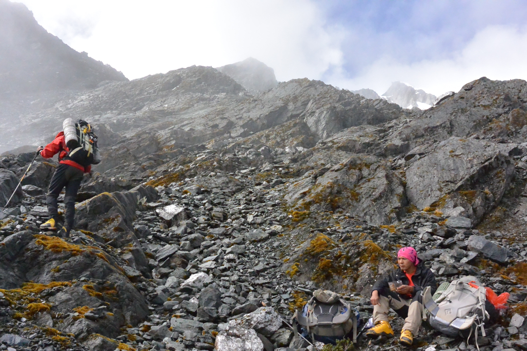 Approaching high camp below Nevado Palqay.