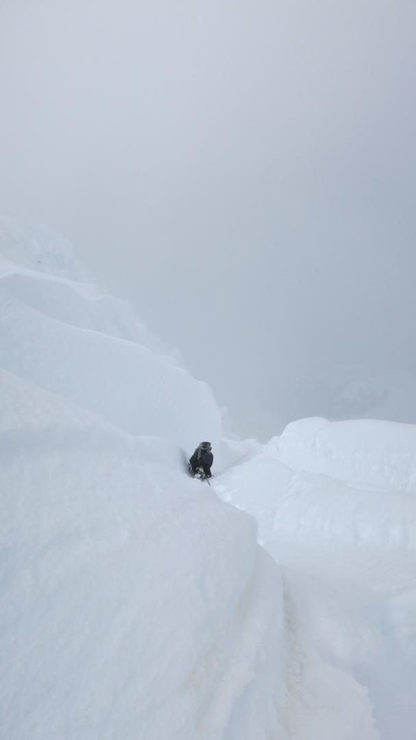 Descending the south face of Nevado Tucarhuay.