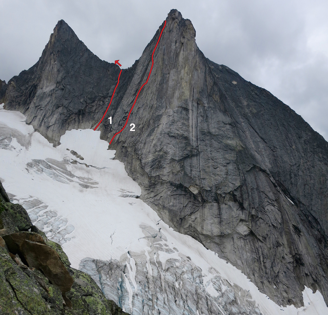 Block Tower (left) and Wall Tower. (1) Slim Princess, continuing up the ridge to Block Tower's summit. (2) State of Wonder. Both routes climbed in 2015.