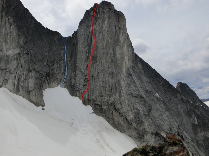 Block Tower (left) and Wall Tower. (Blue) Slim Princess, continuing up the ridge to Block Tower's summit. (Red) State of Wonder. Both routes climbed in 2015.