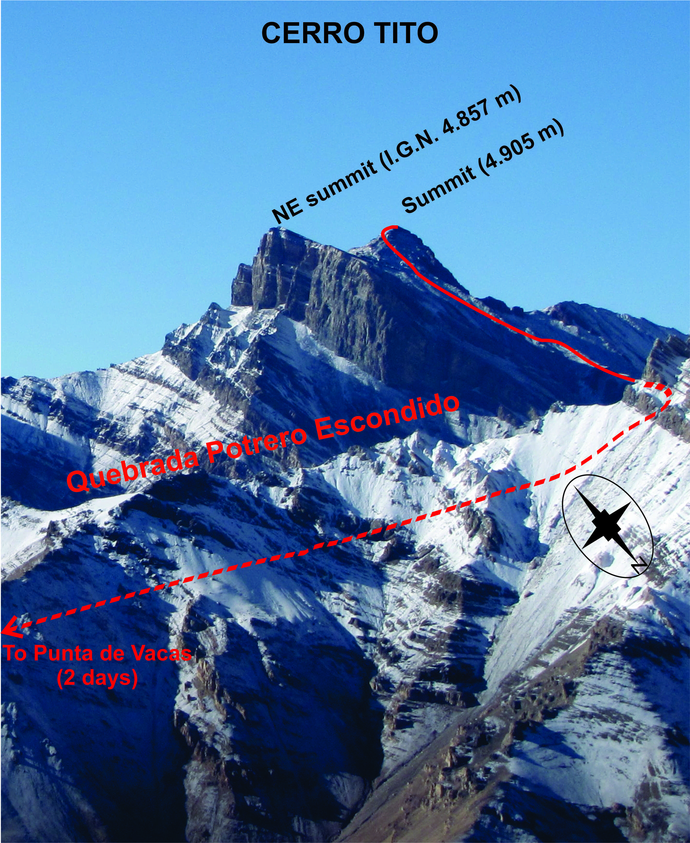 The approach and route up Cerro Tito.