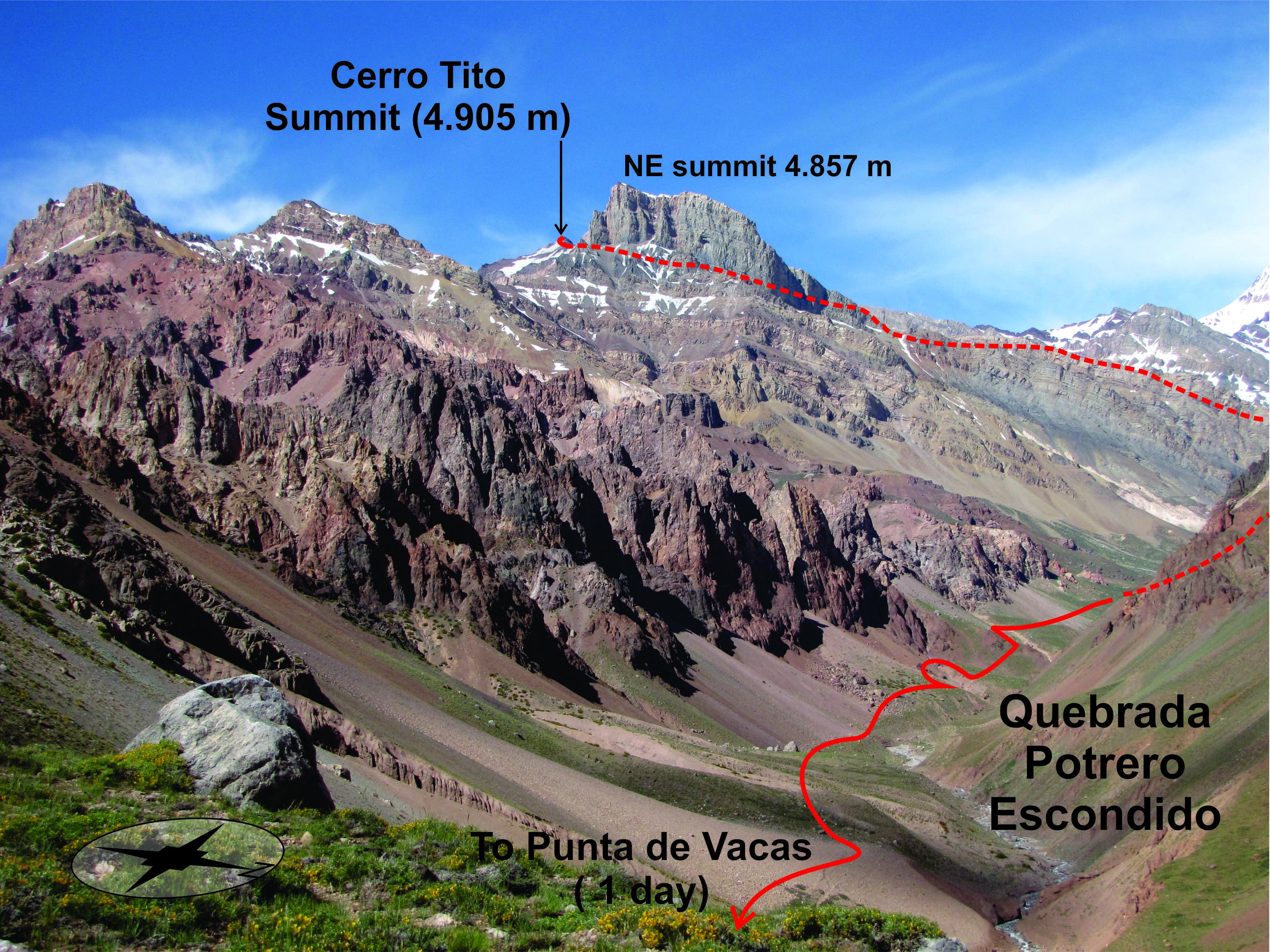 The initial approach to Cerro Tito.
