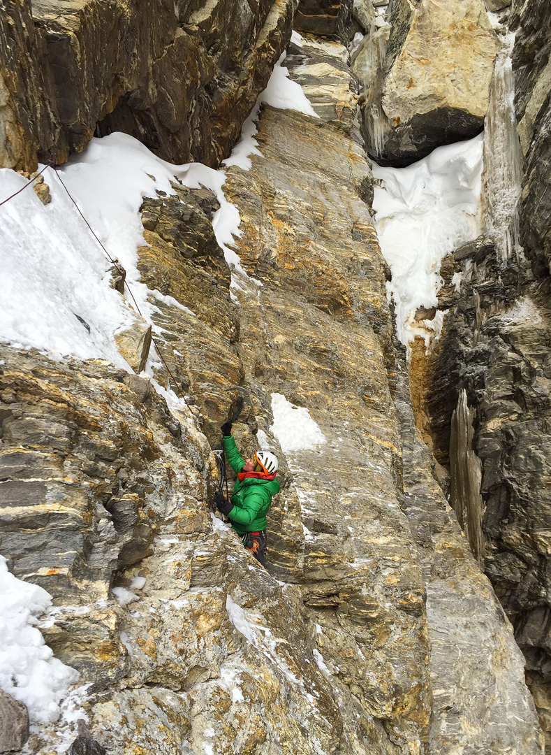 Cristina Pogacean following the upper part of the mixed climbing crux pitch leading to the second bivouac on T16.