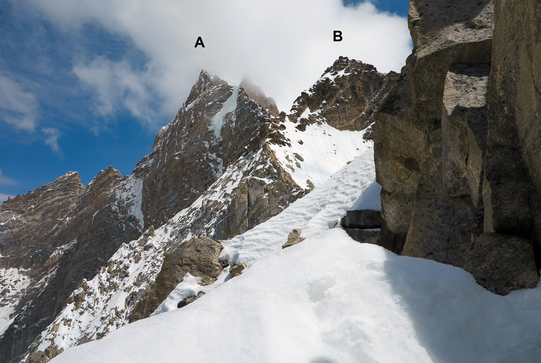 T13 seen from the attempt on the northwest ridge: (A) Main summit (6,436m). (B) High point attained by the Indo-Romanian team in 2016, reached from the far side.