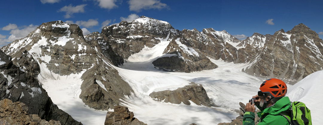 Unclimbed T13 (6,436m; highest peak in the center; west ridge on the left) from the Korlomshe Glacier to the south.