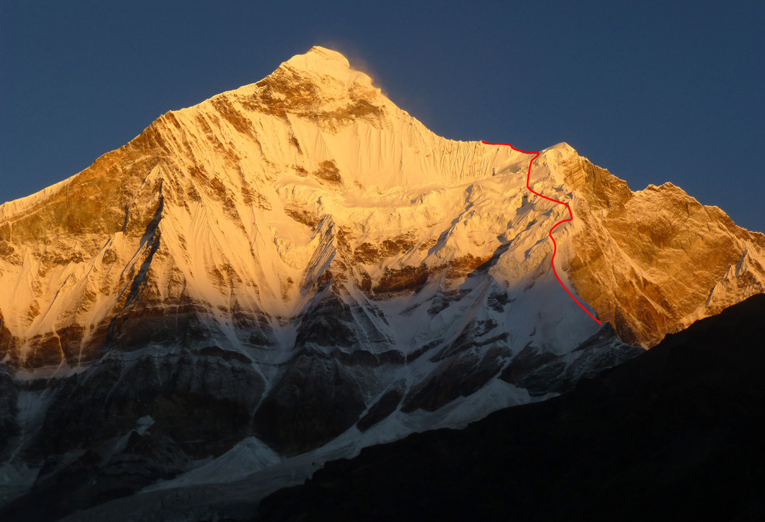 Nanda Devi East with the line of the 2015 attempt on the northeast ridge. The 1939 Polish route is the left skyline.