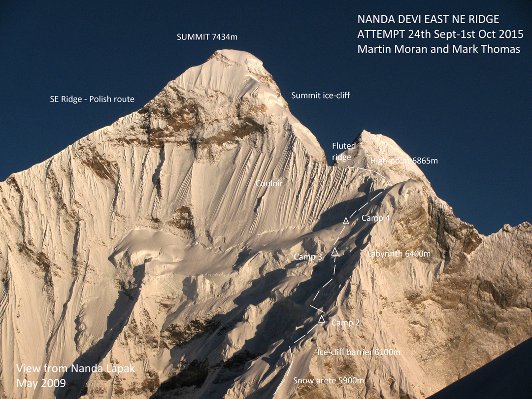 The attempted route on the northeast ridge of Nanda Devi East. The main summit of Nanda Devi is visible behind.