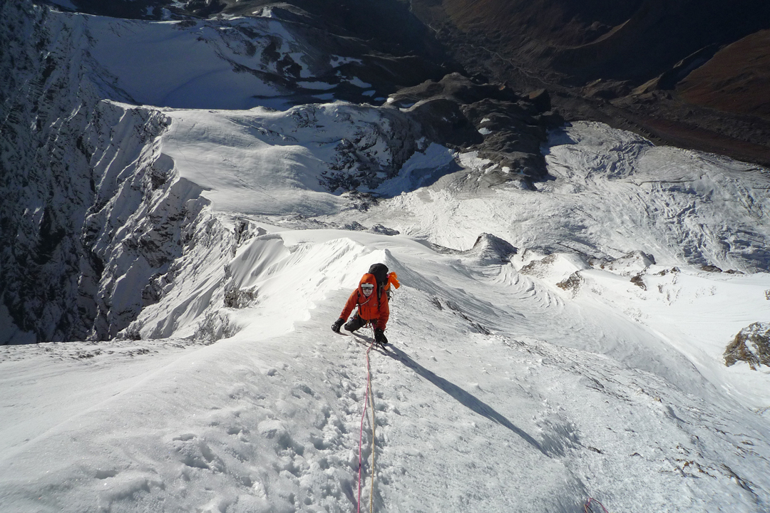Martin Moran on the lower section of the northeast ridge of Nanda Devi East.