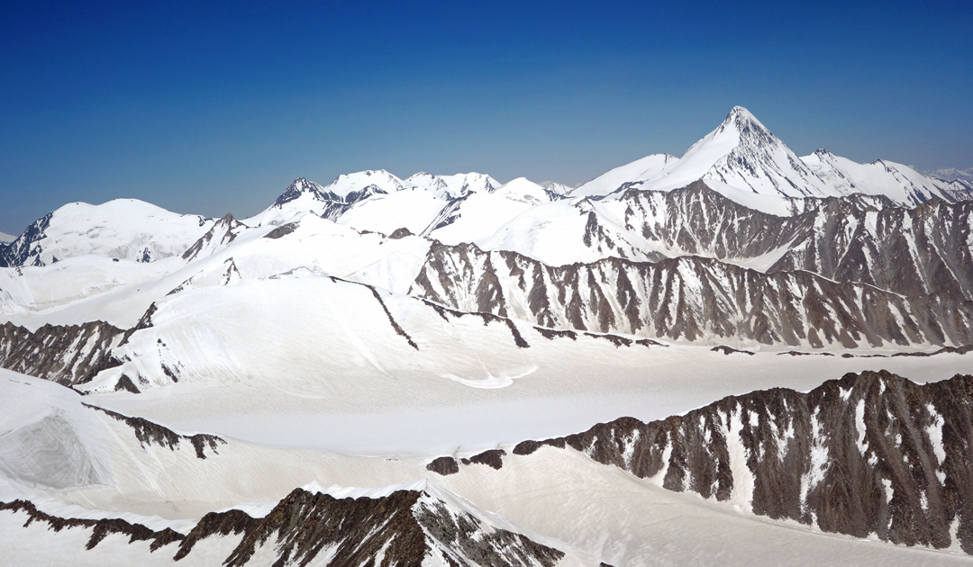 Seen to the north, unclimbed Peak 6,750m from the summit of Sagtogpa Kangri.