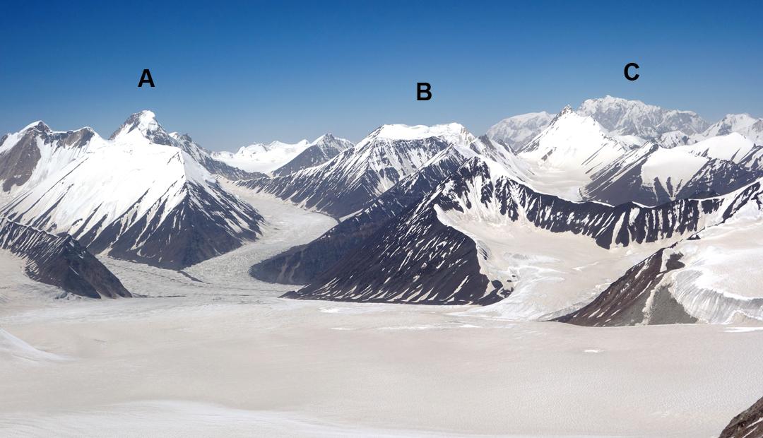 The view northwest from Sagtogpa Kangri. (A) Argan Kangri (6,789m) and (B) Amale (6,312m) in the Arganglas Group. (C) Saser Kangri Group (Saser I, 7,672m).