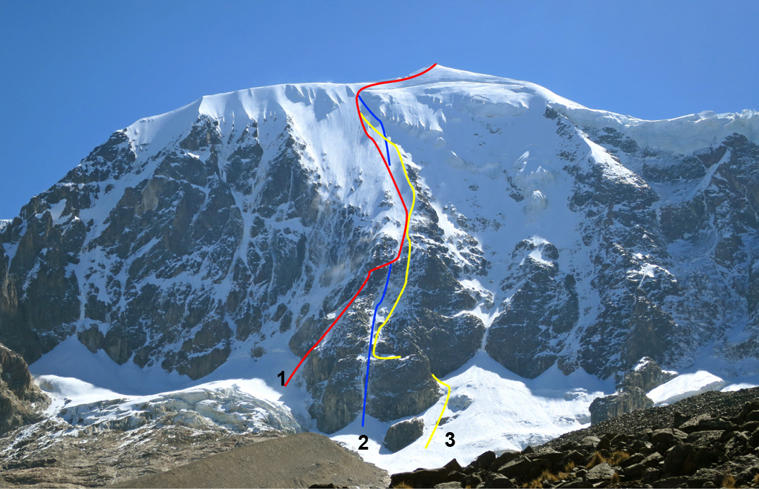 The south face of Illimani. (1) Approximate line of the original 1974 Laba-Thackray Route. (2) Directa Italiana (2015). (3) Directa Bolviana (Bialek-Ayaviri-Tarqui, 2015). Other routes to the left are not shown