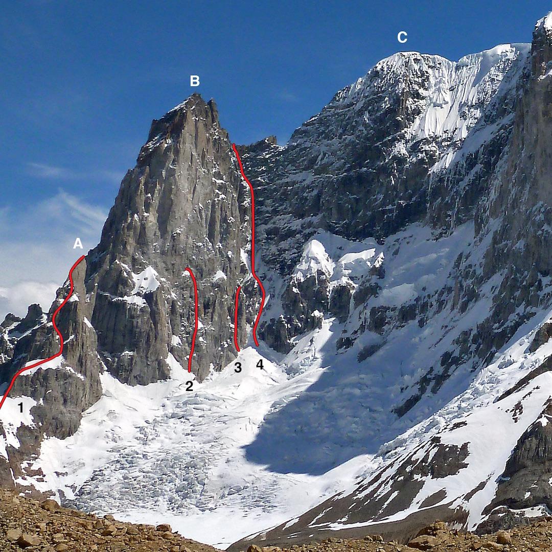 The south end of San Lorenzo (3,706m), showing: (A) Aguja Antipasto. (1) Romance Explosion. (B) Pilar Sur. (2) 2013 Argentine attempt. (3) 2016 Ecuadorian attempt. (4) 2015 Slovenian route to the col. (C) Cumbre Buscaini.