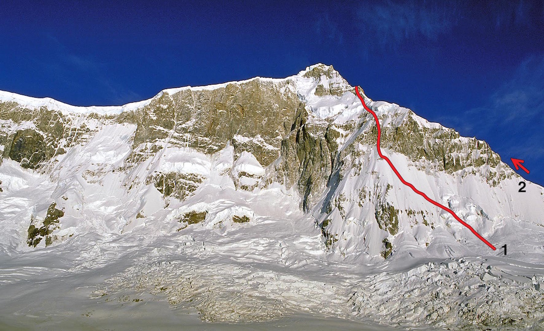 The east face and main summit of San Lorenzo. (1) No Fiesta, the 2015 Slovenian line, with a high point at the junction with the Sudafricana Route on the east ridge at about 3,450m. (2) Sudafricana Route (1986) to summit.