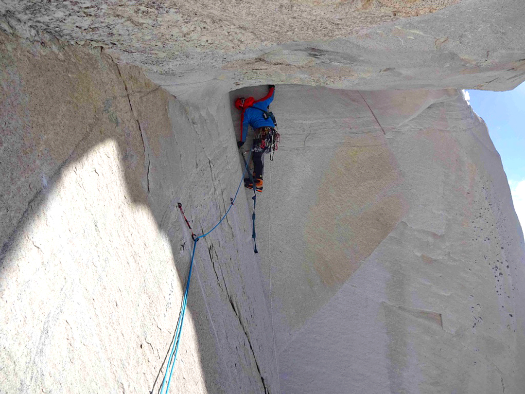 Txus Lizarraga on the big roof (A2+) four pitches above Camp 2 at 6,040m.