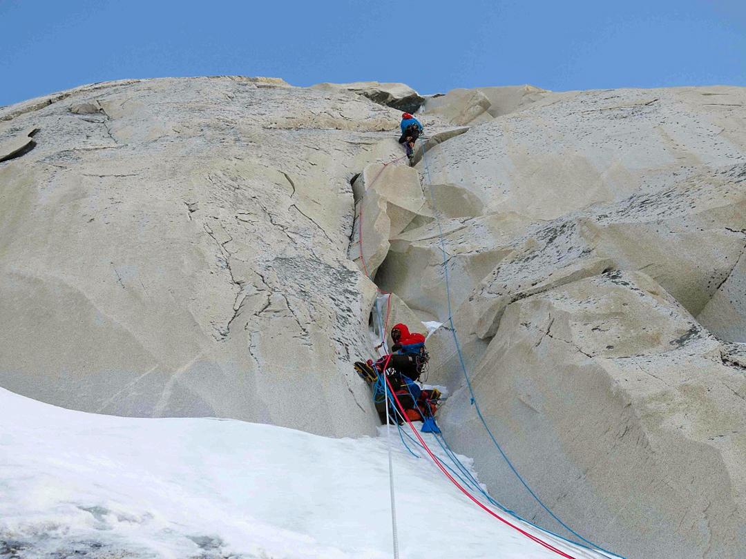 Txus Lizarraga and Ekaitz Maiz climbing new ground on the rock pillar.