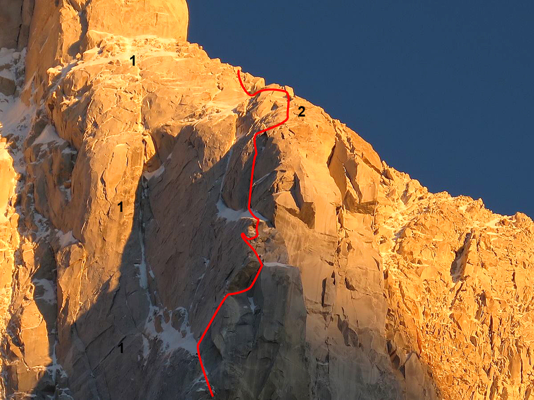 (1) The pillar climbed by the 2004 Swiss route (Harvest Moon). (2) The upper part of the pillar climbed by the Spanish-Italian team in 2015 to join the west ridge, which comes up the right skyline.