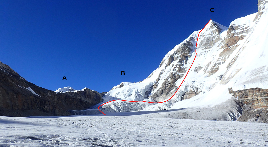 Looking up the northwest branch of the Chijima Glacier. (A) Dzanye I. (B) Dzanye II. (C) Lashar I and the route up the south  face climbed in 2005 (Habjan-Stremfelj) to make the first ascent of this mountain. The route to the foot of the final slopes of Dzanye II hugged the left side of the glacier to keep away from the icefalls.