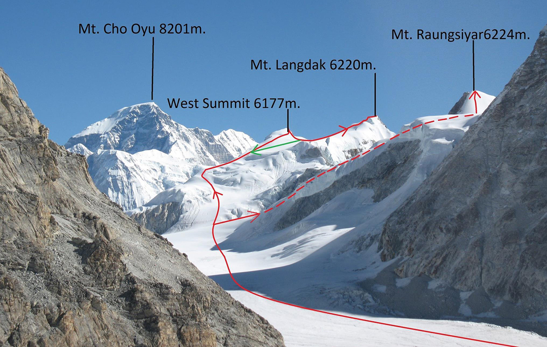 Looking north up the Drolambau Glacier to the 2015 Sherpa ascent routes on Langdak and Raungsiyar.