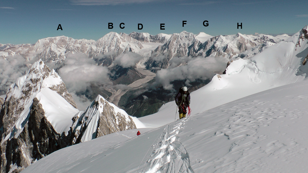 On the upper northwest ridge of Thulagi with the Ponkar Glacier behind, running north into the Peri Himal. The pointed peak at the end of the northwest ridge is unclimbed Phungi. Directly behind this is (A) Gyajikang (7,074m), then (B) Nemjung (7,140m), (C) Himjung (7,092m), (D) Himlung Himal (7,126m), (E) Cheo Himal (7,035m), (F) Panbari (6,905m), (G) Peak 6,767m, and (H) Chaar Baatsa Himal (6,621m, first climbed in 2015 by Paulo Grobel's expedition).