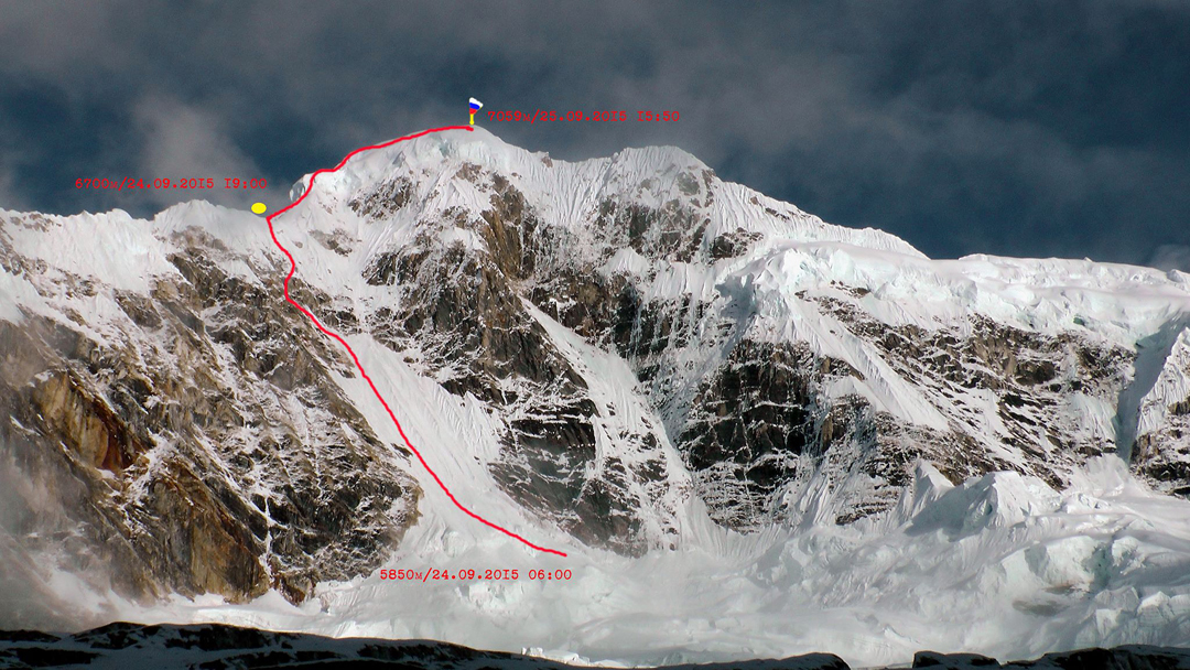 Thulagi (7,059m), showing the Russian Route (2015) up the west face and northwest ridge.