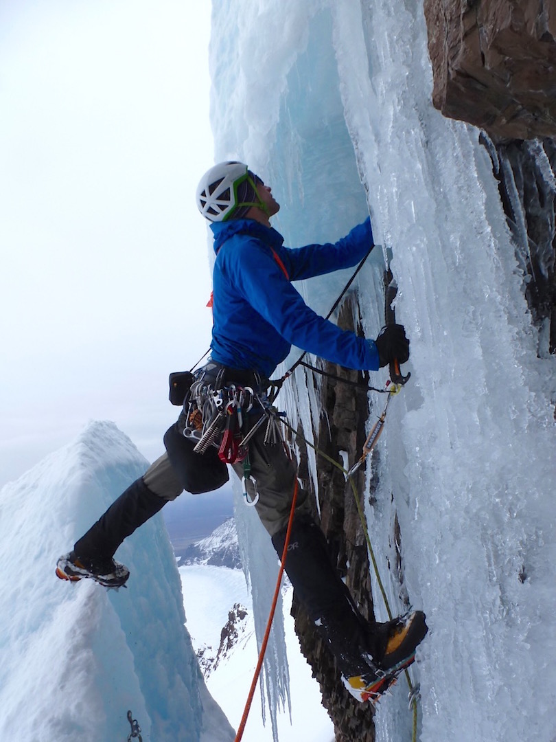 Spencer Gray starting the crux lead of Lucky Leif.