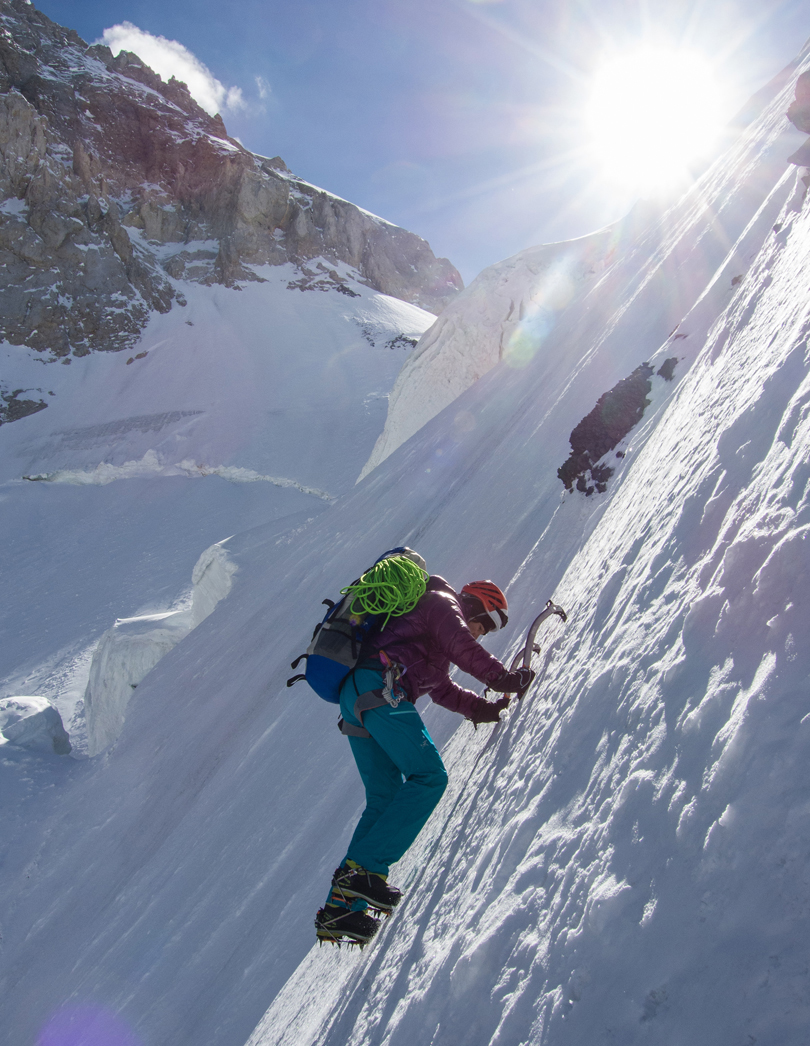 Nancy Hansen in the couloir leading to the southwest ridge of Gasherbrum VI.