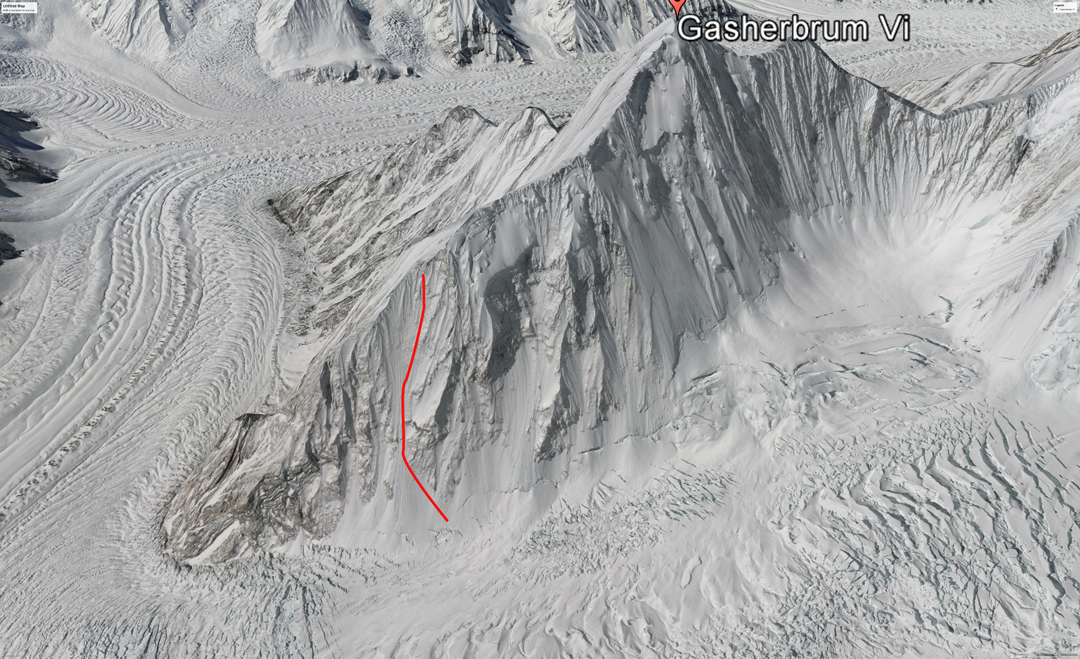 A Google Earth view of Gasherbrum VI from the northeast. The 2009 Portuguese attempt to reach the east ridge and follow it to the summit is marked.